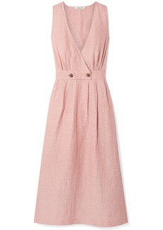 Madewell Wrap-effect Linen-blend Midi Dress