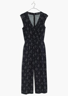 Wrap-Front Culotte Jumpsuit in Vine Scatter