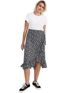 Madewell Ruffle-Edge Midi Wrap Skirt in Harvest Vine