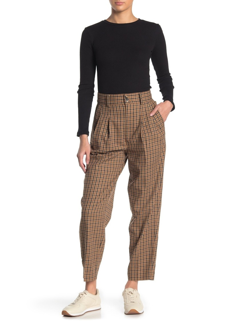 Madewell Yarn Dye Check Print Pleated Tapered Pants