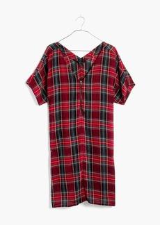 Zip-Front Dress in Tartan Plaid
