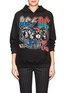 "Madeworn Women's ""AC/DC"" Distressed Cotton-Blend Hoodie"