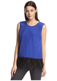 Madison Marcus Women's Tank with Feather Trim  M