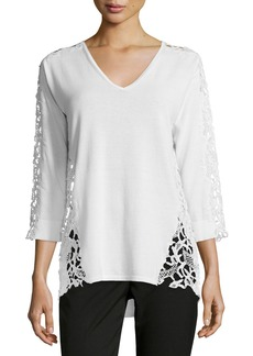 Magaschoni 3/4-Sleeve Lace-Inset Sweater