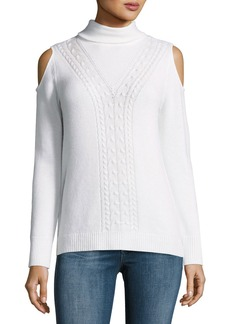 Magaschoni Cable-Knit Cashmere Cold-Shoulder Sweater