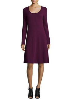 Magaschoni Cashmere Long-Sleeve Fit-&-Flare Dress