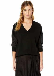 Magaschoni Women's Silk Long Sleeve V-Neck Pullover Sweater