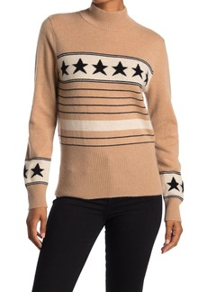 Magaschoni Star Stripe Mock Neck Cashmere Sweater