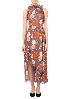 Magda Butrym Assisi Floral-Print Ruffle Open-Back Halter Cocktail Dress