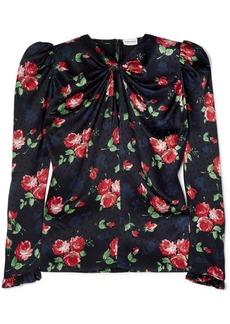Magda Butrym Casetra Floral-print Silk-satin Jacquard Blouse