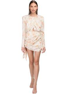 Magda Butrym Floral Print Stretch Silk Mini Dress