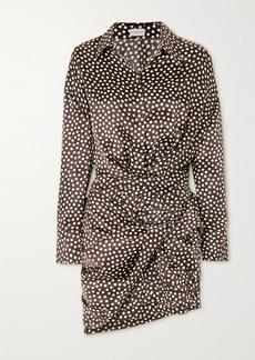 Magda Butrym Gathered Polka-dot Silk-jacquard Mini Shirt Dress