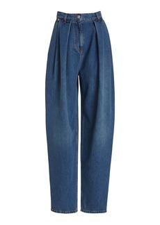 Magda Butrym - Women's Pleated Rigid High-Rise Tapered-Leg Jeans - Light Wash/blue - Moda Operandi