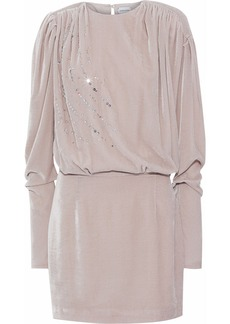 Magda Butrym Woman Bogota Embellished Gathered Velvet Mini Dress Pastel Pink