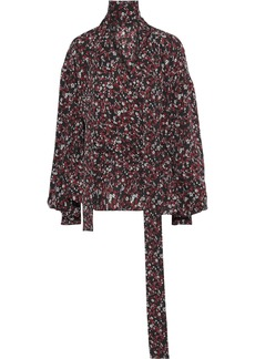 Magda Butrym Woman Cali Wrap-effect Floral-print Washed-silk Blouse Red