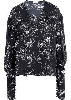 Magda Butrym Woman Camas Draped Floral-print Silk Crepe De Chine Wrap Blouse Black