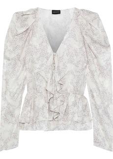 Magda Butrym Woman Cefalu Floral-print Silk-jacquard Peplum Blouse Ivory