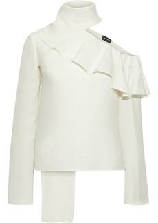 Magda Butrym Woman Hanoi Cold-shoulder Ruffled Cotton And Silk-blend Blouse Cream