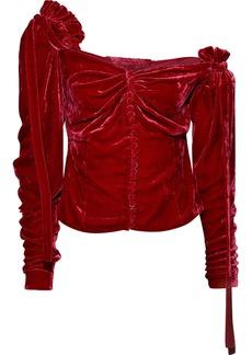 Magda Butrym Woman Leticia One-shoulder Ruched Velvet Blouse Crimson