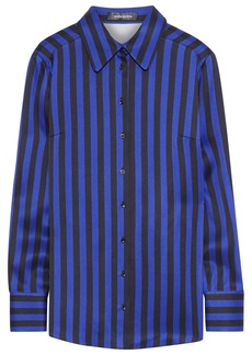 Magda Butrym Woman Napoli Striped Silk-satin Shirt Navy