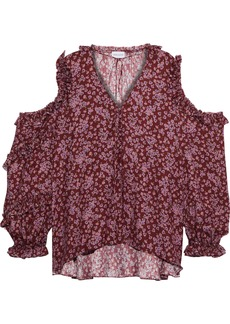 Magda Butrym Woman Rijeka Cold-shoulder Floral-print Silk Crepe De Chine Top Burgundy
