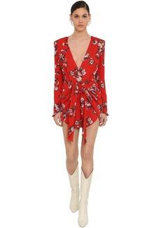 Magda Butrym Printed Light Silk Cady Mini Dress