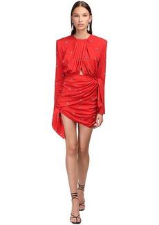 Magda Butrym Printed Stretch Silk Mini Dress