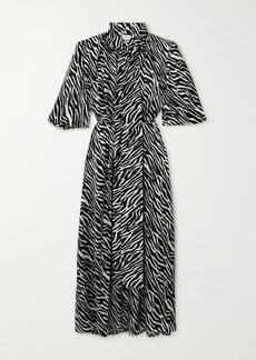 Magda Butrym Pussy-bow Zebra-print Silk-satin Maxi Dress