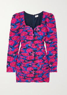 Magda Butrym Ruched Floral-print Silk Mini Dress