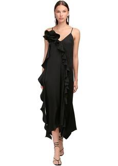 Magda Butrym Ruffled Silk Satin Long Midi Dress