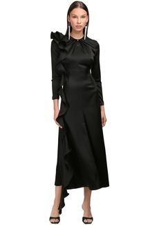 Magda Butrym Silk Satin Midi Dress W/ Cut Out