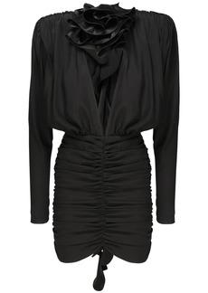 Magda Butrym Stretch Silk Satin Mini Dress W/ Rose