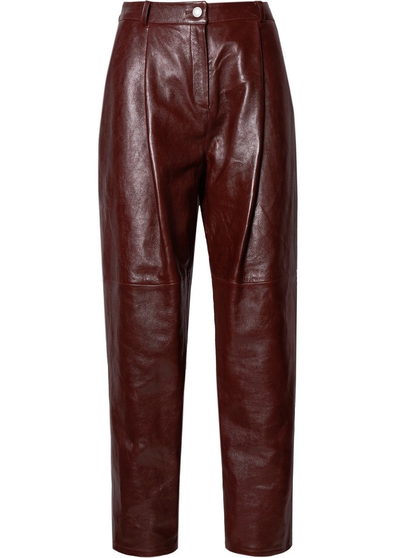 Magda Butrym Totness Pleated Leather Tapered Pants