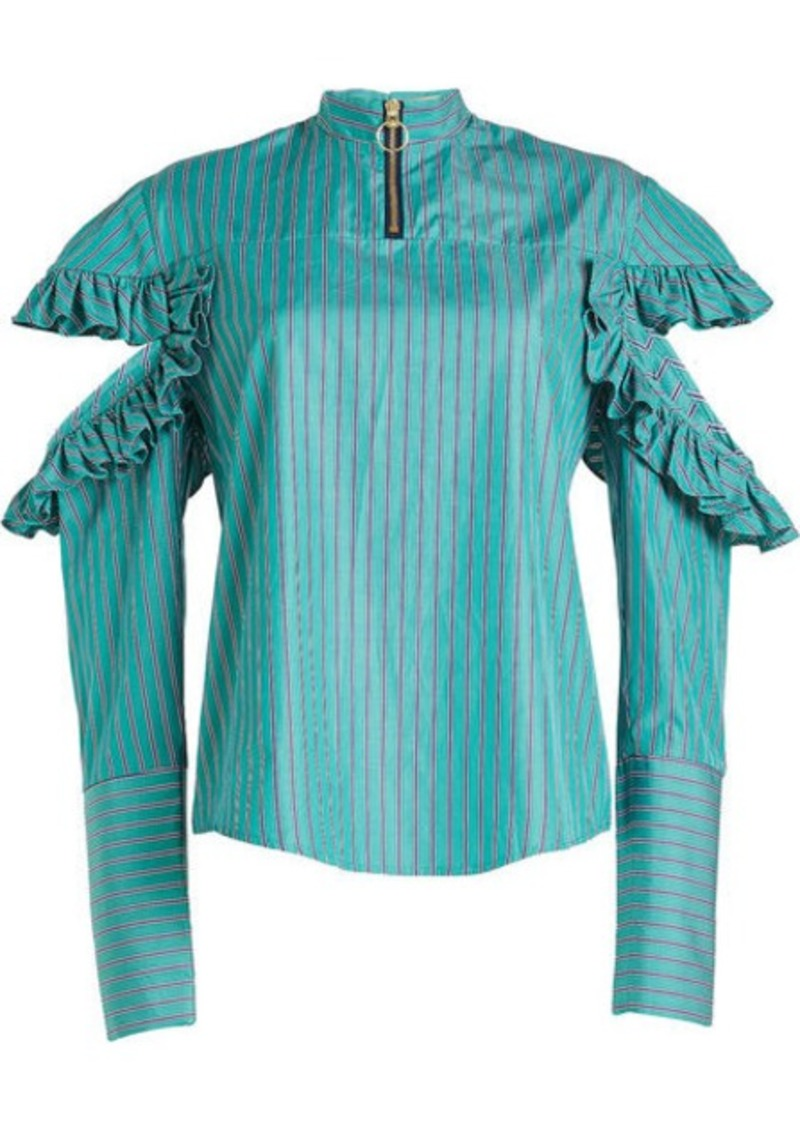 Maggie Marilyn Cold-Shoulder Cotton Blouse with Ruffles