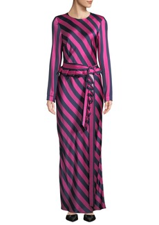Maggie Marilyn Get Em Girl Striped Silk Long-Sleeve Dress