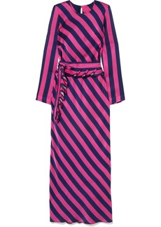 Maggie Marilyn Get 'em Girl Striped Silk-satin Maxi Dress