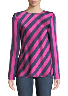 Maggie Marilyn I Wish You Well Open-Back Stripe Silk Top