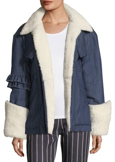 Maggie Marilyn Made For Greatness Oversized Denim Jacket w/ Shearling