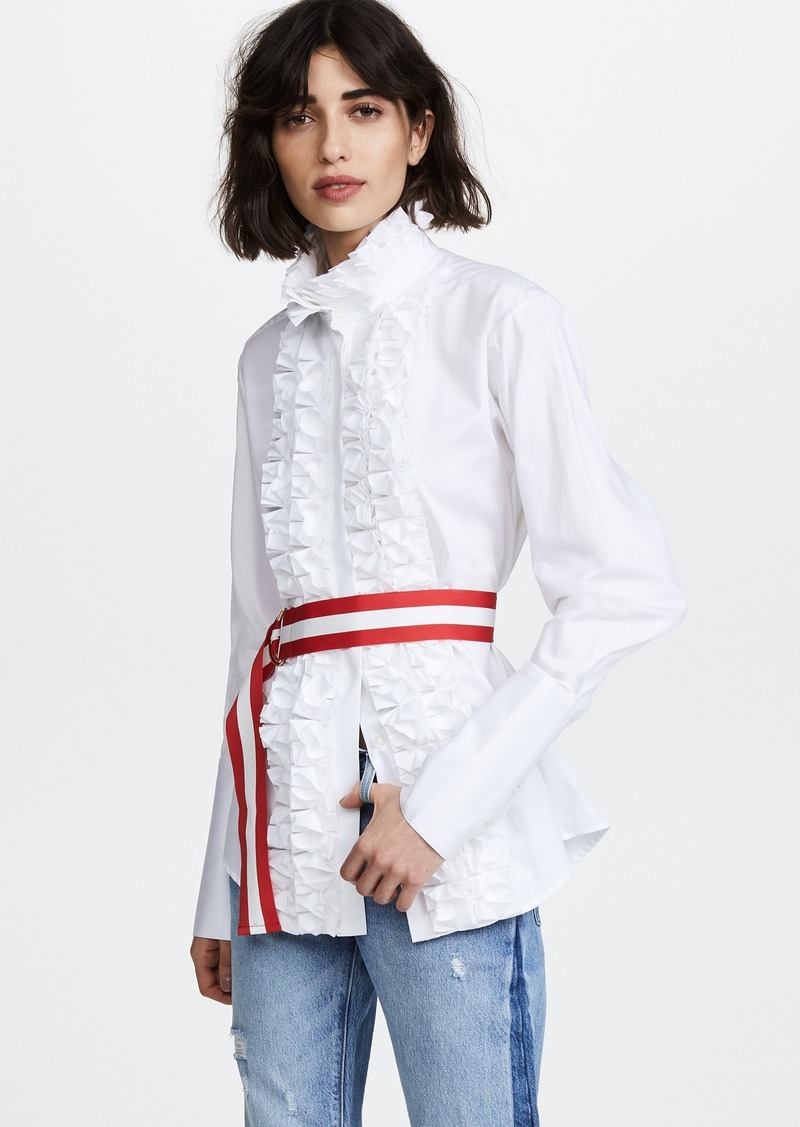 Maggie Marilyn Live a Little Ruffle Shirt with Belt