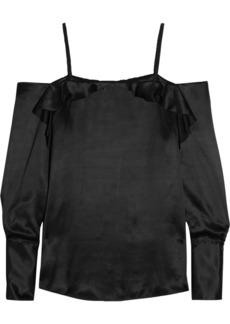 Maggie Marilyn Woman Angelo Ruffled Silk-satin Top Black