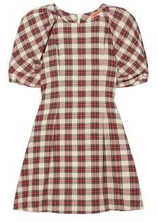 Maggie Marilyn Woman Fashionably Early Checked Cotton-flannel Mini Dress Crimson