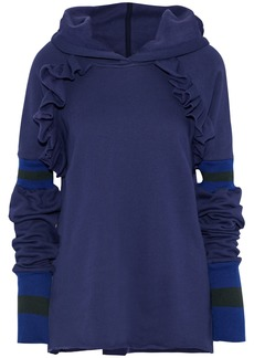 Maggie Marilyn Woman Follow My Lead Ruffle-trimmed Cotton-fleece Hoodie Navy