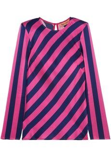 Maggie Marilyn Woman I Wish You Well Open-back Striped Silk-satin Top Fuchsia