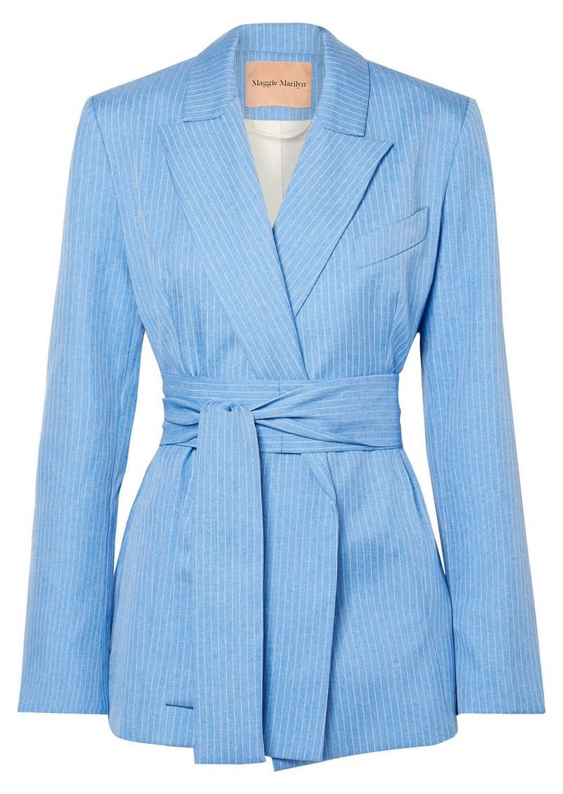 Maggie Marilyn Net Sustain Just Getting Started Belted Pinstriped Woven Wrap Blazer