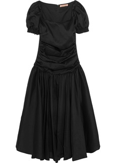 Maggie Marilyn Rule Breaker Off-the-shoulder Ruched Crepe Midi Dress