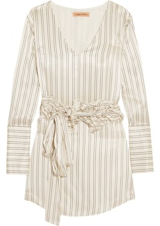 Maggie Marilyn Somewhere Convertible Ruffled Pinstriped Silk-satin Mini Dress