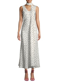 Maggie Marilyn Strength In Vulnerability Printed Tie-Neck Long Dress