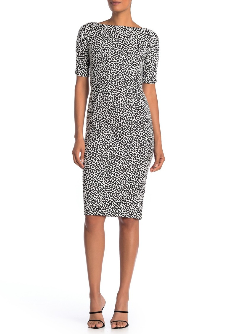 Maggy London Animal Print Bateau Neck Knit Dress