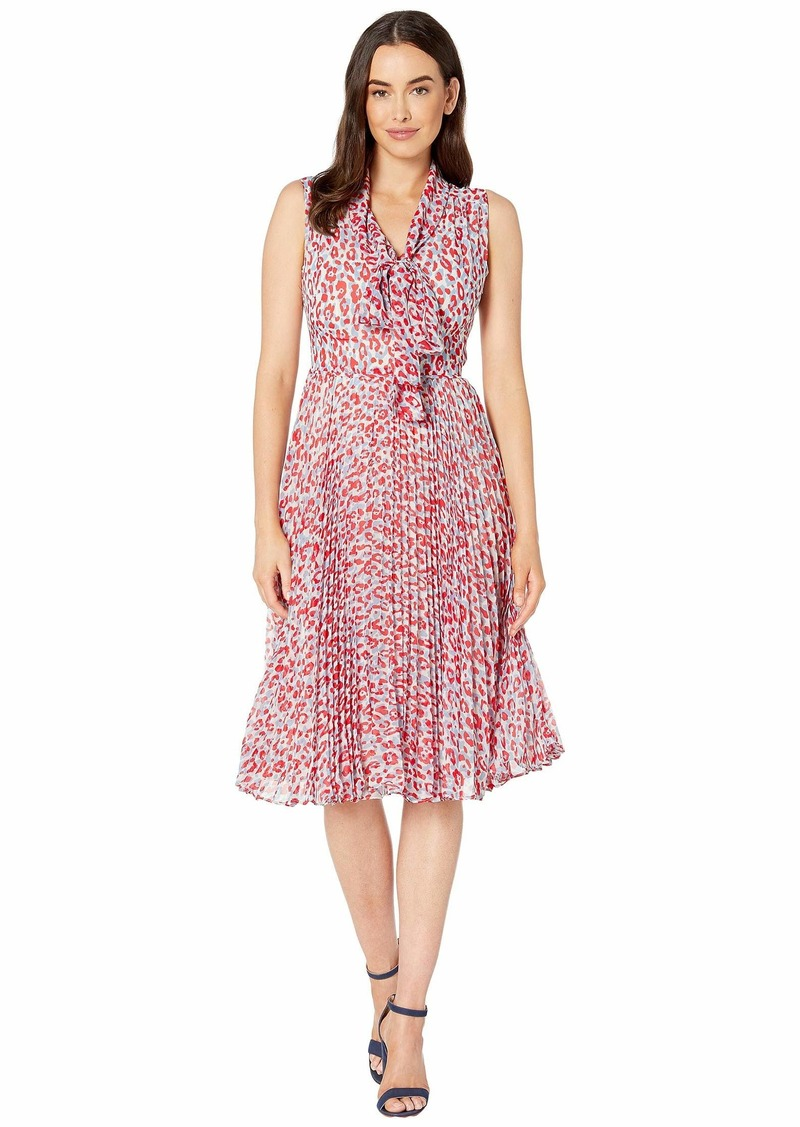 Maggy London Animal Spot Printed Chiffon Fit and Flare Dress