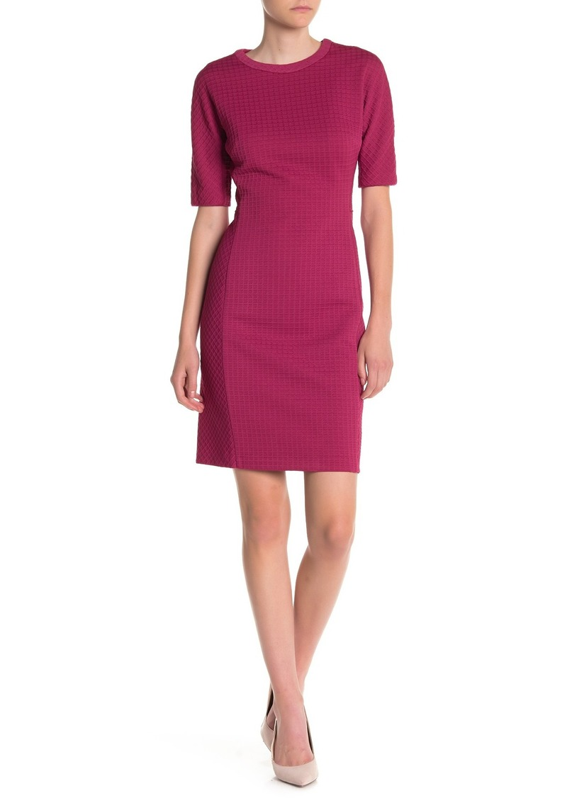Maggy London Arc Shoulder Jewel Neck Sheath Dress